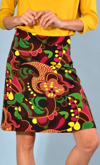 Skirt Mirabelle in Turtles print, trapeze, just above the knee, zipped back.