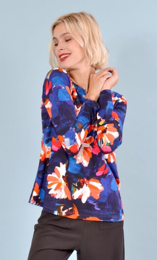 Top Le Sphinx Crazy Bloom blue & red , Printed jersey top, boat neckline, trapeze, long sleeves.