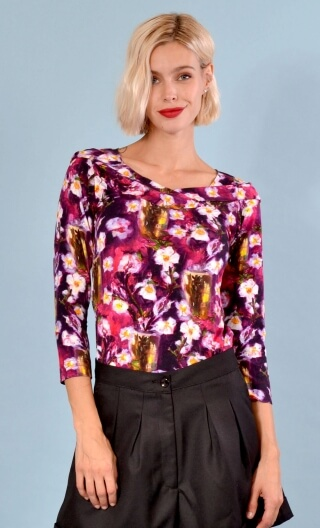 Top Pénélope Bohemian Room, Printed jersey top, glamorous, fitted, draped neckline front, manches sleeves, sixties.