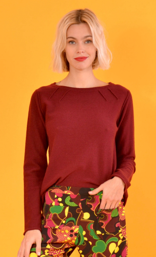 Pull L'Avocette Wool & Silk Burgundy color, Fine crew-neck sweater, Italian merino / cashmere and silk knit