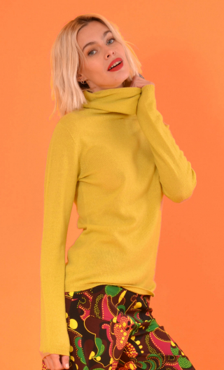 Pull Le Faucon Wool & Silk Yellow, fine turtleneck sweater, small hip length, Italian merino / cashmere and silk knit