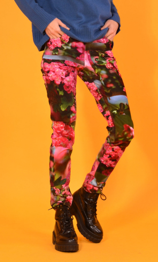 Pantalon Charlie L'Arbre sans nom, printed trousers 5 pockets, stretch, slim, high waist.