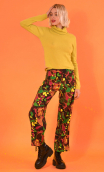 Trousers Gabin Turtles print, Wide and slightly short, stretch, flat profile, side zip, back and front patch pockets.