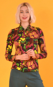 Chemise Abbey Road Turtles, Printed jersey shirt, fitted, pointed collar, long sleeve with wrist. Seventies.