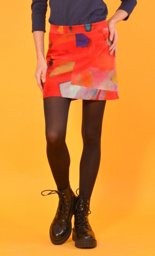 Jupe Gaby n'a pas froid Fragments, Printed skirt velvet, trapeze and short, zipped back