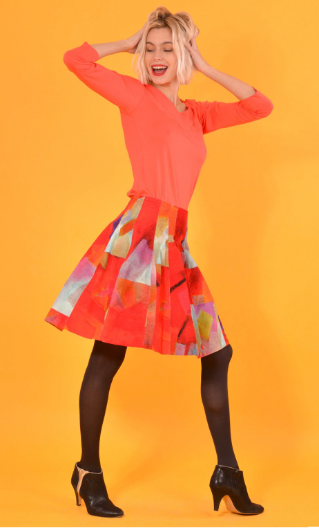 Skirt Miss Lala Fragments, printed velvet skirt, corolla, knee length, beautiful topstitching,
