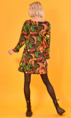 robe Taxi Girl Turtles, Printed short dress, long sleeve, trapeze