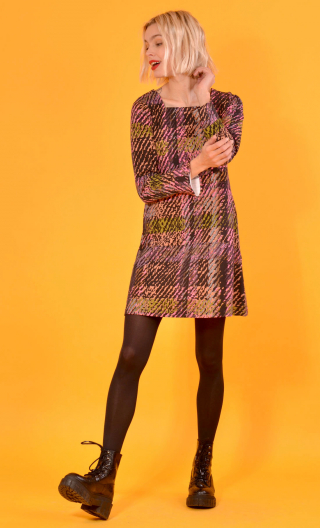 robe Taxi Girl Bourrasques, Printed short dress, long sleeve, trapeze