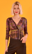 Top Lorelei Bourrasques, Printed jersey top, wrap effect, 3/4 sleeves, sixties.