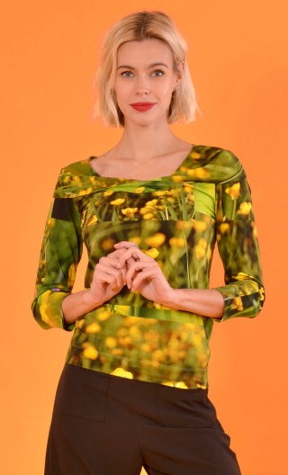Top Pénélope Boutons d'Or, Printed jersey top, glamorous, fitted, draped neckline front, manches sleeves, sixties.