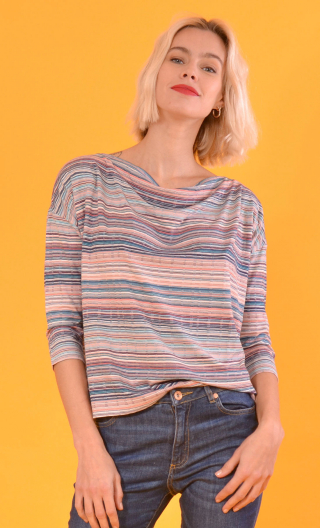 Top Brahms Pops Nuts pink & blue, Striped jersey top, fluid, cowl neck, loose armhole, ¾ sleeves.