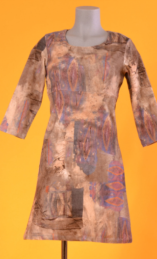 Robe Reviens-moi toujours Siouxie, printed stretch velvet dress, over-the-knee length, elbow sleeve.