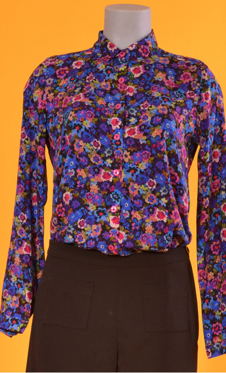 Shirt Elle lisait Sophocle Rainbow, printed long sleeves shirt with cuffs, fluid, mini rounded collar.