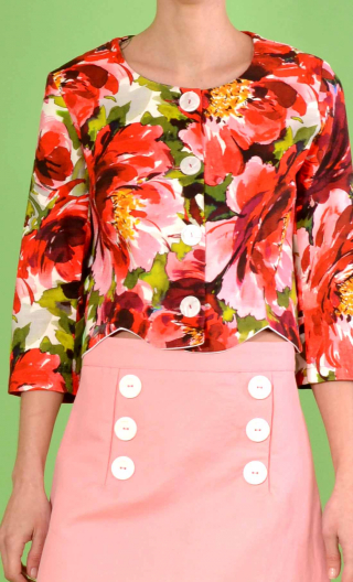 Short printed Pivoines rouge jacket, collarless, 3/4 sleeve