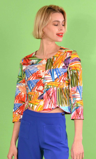 Short printed Colorama jacket, collarless, 3/4 sleeve