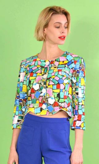 Jacket Rosamoon, short printed knit Mosaïque, collarless, 3/4 sleeve