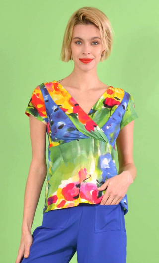 Top Zelda printed Jardin Enchanté, crossed V neckline, chest panel, short and small sleeves, sixties look.