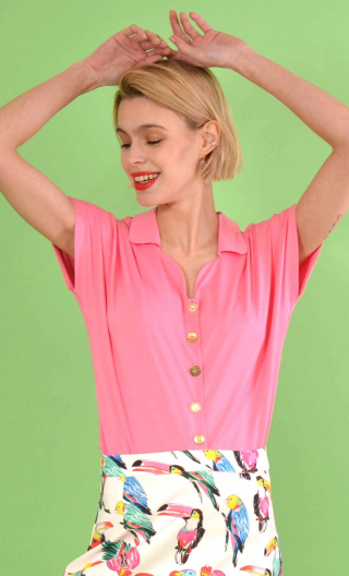 School One pink, Plain jersey top, small collar, short, kimono sleeve, loose bust, silver hammered buttons