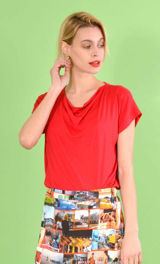 Top Callisto in Jersey, Red, fluid, cowl neck, sleeveless