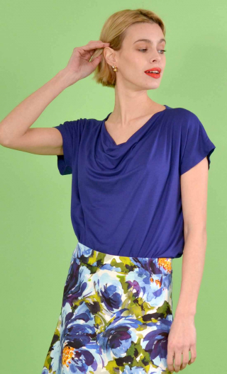 Top Callisto in Basiques Raffinés electric blue, jersey, fluid, cowl neck, sleeveless