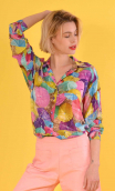 Chemise Résiste Le Monde de Peter Pan, Oversized print shirt, long sleeves with cuffs, pointed collar..