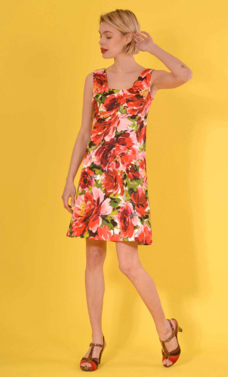 Dress Chère Nana print Pivoines rouge, fitted, stretch, above the knee, sleeveless, square neckline back and front