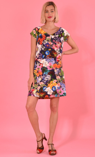 Robe Swing Kitch Marine,Trapeze, small sleeves, Peter Pan collar, waist and loose hips