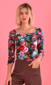 Top Pénélope printed Vintage, jersey top, glamorous, fitted, draped neckline front, manches sleeves, sixties. Fashion, urban