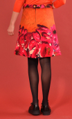 Skirt Mirabelle in Diabolique rouge print, trapeze, just above the knee, urban chic, french style, Paris.