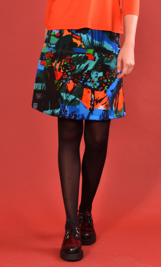 Skirt Mirabelle in Cottage turquoise print, trapeze, just above the knee, urban chic, french style, Paris.